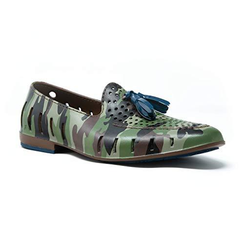 Floafers Executive Tassel - Zapatos de Agua para Hombre, Verde (Green Camo/Sailor Navy), 43 EU