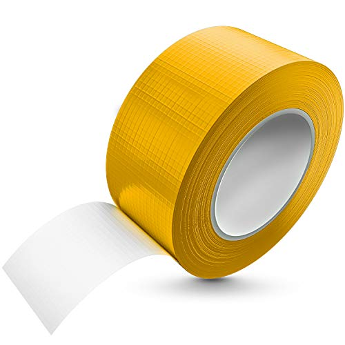 Tape-King [50m x 48mm] Panzertape gelb wasserfest, extreme Klebkraft I Korrigierbares Panzerband handreißbar I Gewebeband, Gaffa Tape, Duct Tape