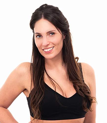 Herzmutter Sujetador De Lactancia - Sujetador de Embarazo - Sin Costura - Sujetador para Futura mamá - 5200 (S-M, Negro   Beige (Nueva función de Lactancia))