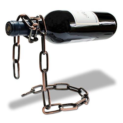 Grinscard Weinflaschenhalter Ketten Design - Kupferfarbig, Metall - Weinständer Wein Aufbewahrung und Präsentation