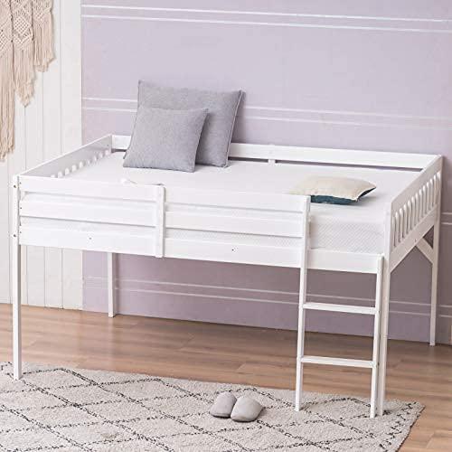 Cama de loft bajo bajo con escalera de barra de guardia, marco de cama de madera maciza de doble tamaño para niños y adolescentes jóvenes, sin caja ...
