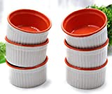 Bamby Set of 6; 150ml Ramekin Bowls in Red and White for Baking Cup Cake or Serving Desserts Snacks Sauces and Single Portion Gravy