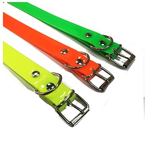 HappyZoo Mascotas Collar Biothane Auténtico - Tamaño 60 cm - Colores Vivos - Naranja Verde Pistacho