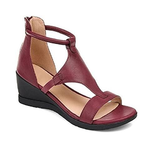 Fende Zapatos versátiles de tacón de pendiente de las mujeres sandalias de plataforma casuales con punta abierta para las mujeres