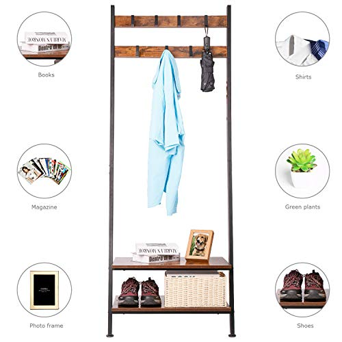 Wall-Leaning Ladder Shelves Coat Rack Hall Tree Entryway Shelf Shoe Rack Home Office Decor Wood Look Furniture with Metal Frame