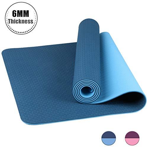 StillCool Esterilla Yoga TPE, Colchoneta de Yoga Antideslizante con Correa de Hombro Elástica para Gimnasia Pilates Gimnasia en Fitness Casa y Al Aire Libre, 183 x 61 x 0,6 cm - Azul