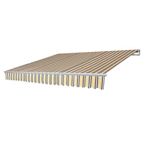 Mendler Alu-Markise T792, Gelenkarmmarkise Sonnenschutz 5x3m - Polyester grau-gelb
