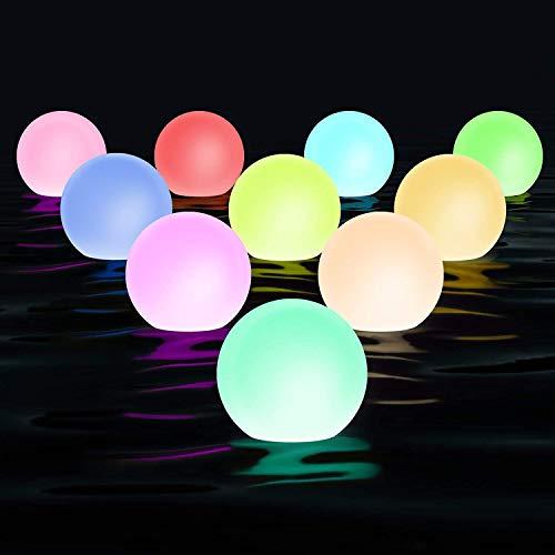 Mezone Schwimmend led Poolleuchten 6 Stück, LED Kugellicht mit Fernbedienung, Dekobeleutung für Badewanne, Poo,l Garten, Baum Teich, Party, Fest und usw.