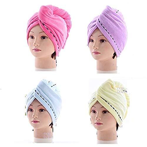 Yue668 Casquette Sèche-Cheveux, Bonnet De Douche Doux Et Sec pour Matériau en Fibre Ensemble De 3 Pièces De Serviette Enveloppée 25×68cm/9.8*26.8in
