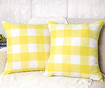 4TH Emotion Set of 2 Polyester Buffalo Check Plaid Farmhouse Throw Pillow Covers Cushion Case for Spring Summer Home Decor Yellow and White 18 x 18 Inches