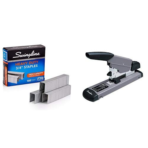 "Swingline Heavy Duty Stapler, 160 Sheet Capacity, Black/Gray (39005) & Staples, Heavy Duty, 3/4"" Length, 160 Sheet Capacity, 100/Strip, 1000/Box, 1 Pack (35319)"
