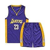 Niños Niños Niñas Hombres Nba Lebron James # 23 Los Angeles Lakers Camisetas de baloncesto retro Trajes de verano Kits de uniformes de baloncesto Top + Shorts 1 juego
