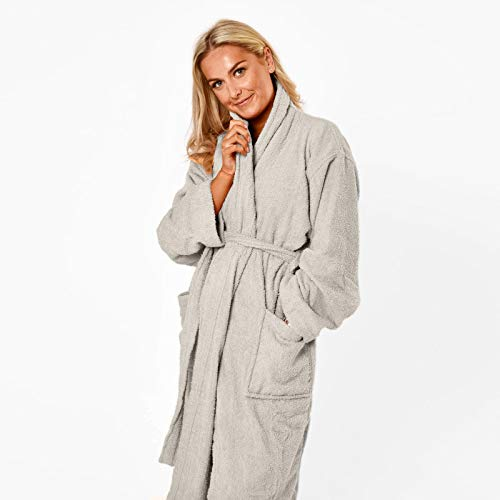 Brentfords 100% Cotton Towel Bath Robe Soft Terry Towelling Dressing Gown Absorbent Shawl for Men Women Kids with Pockets and Belt - One Size, Silver Grey