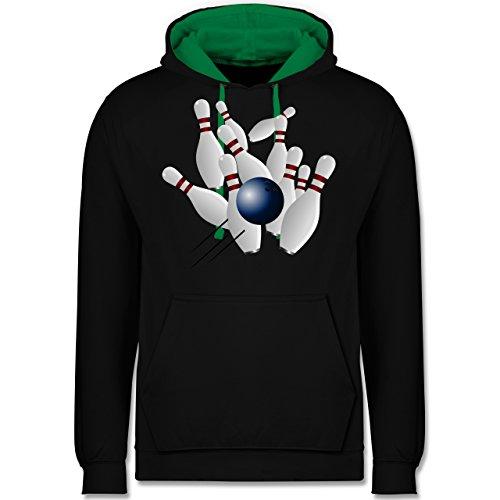 Shirtracer Bowling & Kegeln - Bowling Strike Pins Ball - XL - Schwarz/Grün - Bowlingkugel - JH003 - Hoodie zweifarbig und Kapuzenpullover für Herren und Damen