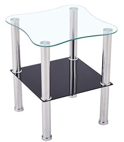 CasaXXl Couchtisch Glas mit Sicherheitsglas & Facettenschliff - Glastisch perfekt geeignet als Beistelltisch/Wohnzimmertisch 40x40x47cm (Abgerundet, Schwarz)