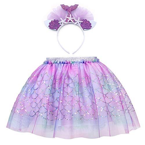 AmzBarley Zeemeermin Tutu Rok Meisjes Prinses Ariel Fancy Dress up Party Kostuum Kind Kinderen Outfit Pailletten Visschaal Verjaardag Dans Rokken Halloween Cosplay Playwear