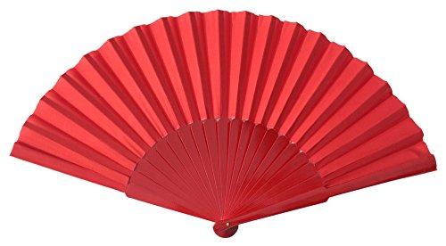 La Senorita Flamenco Fächer, Handfächer, Tanzfächer - Stoff und Holz XL verschiedene Farben (rot)