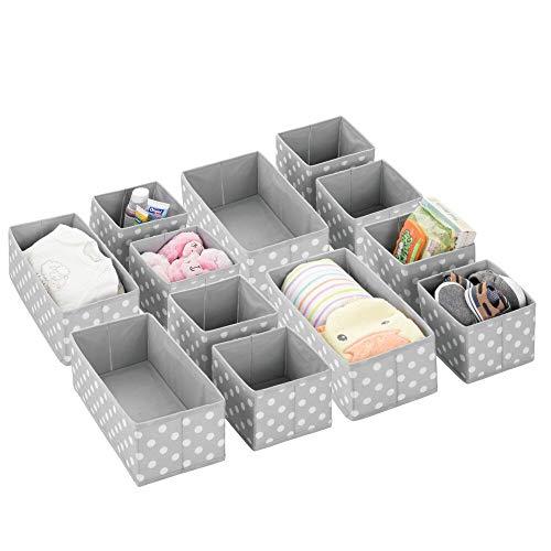 mDesign Juego de 12 cajas de almacenaje para habitación infantil, baño, etc. – Cestas organizadoras de lunares – 12 organizadores de armarios de fibra sintética en dos tamaños – gris/blanco