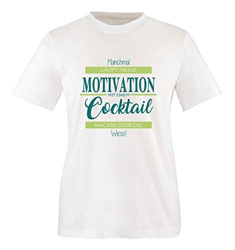 Comedy Shirts - Manchmal läuft Meine Motivation mit einem Cocktail nackig über die Wiese - Herren T-Shirt - Weiss/Türkis-Hellgrün Gr. XL