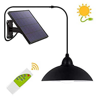Solar Lights Outdoor,LOZAYI IP65 Waterproof Solar Pendant Lights with Remote Control,3 Brightness Level,2H/6H Timer,Adjustable Solar Panel with Photosensitive Control,for Porch,Shed,Barn-Cool White