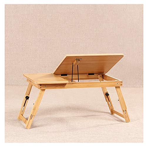Side Table Bamboo Notebook Table Foldable Laptop Stand For Desk,Adjustable Viewing Angle,Portable Foldable Bed Tray Lap Desk,Can Be Used As A Breakfast Tray Or Drawing Table Stand Reading/Book Holder