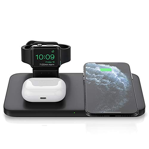 Seneo 3 in 1 Induktive Ladestation, Wireless Ladestation für AirPods Pro/2, Ladedock für iWatch 5/4/3/2, 7,5W Qi-Schnellladung für iPhone 11/Pro Max/SE 2/XS Max/XR/XS/X/8/8P(kein Adapter/iWatch-Kabel)