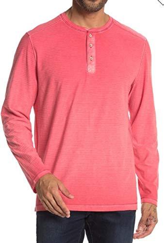 Tommy Bahama Long Sleeve Cirrus Coast Lightweight Henley Tee (Color: Mandalay Red, Size XL)