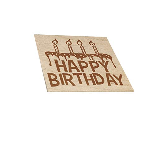1.75' Happy Birthday Cake with Candles Square Rubber Stamp for Planners Stamping Crafting Teaching Card Making DIY Crafts Scrapbooking