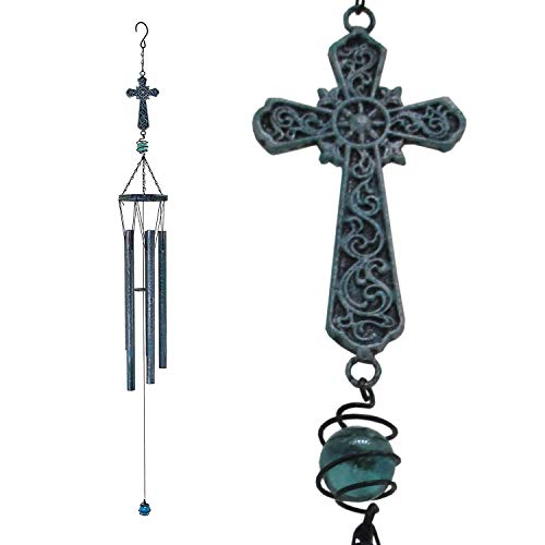 Evey Growing Cross Metal Wind Chimes WindChimes Outdoor Bells Copper Unique Verdigris