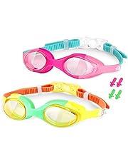 Premium UPGRADED zwembril volwassen kinderen, zwembril voor man vrouw kinderen, zwembril waterdicht anti-mist UV-bescherming geen lek 180 graden, blauw/paars 1 st voor volwassenen, 2 stuks voor kinderen