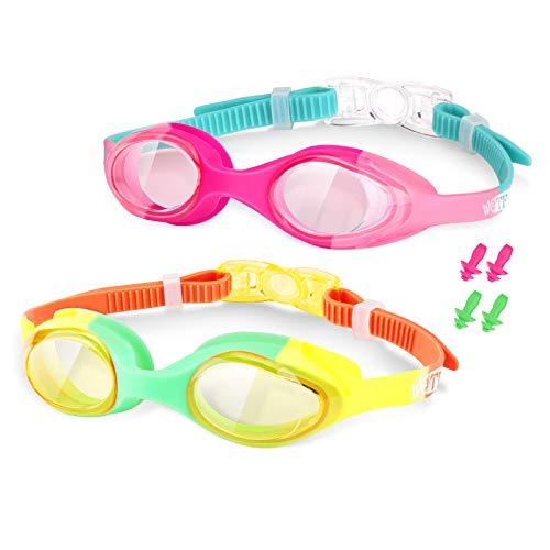 Occhialini da Nuoto per Bambini - Occhialini Piscina Bambino Antiappannamento Professionali - Protezione UV, Impermeabili, Vista HD e Unisex Swimming Goggles Kit per Bambini di 4-12 Anni - 2 Pack