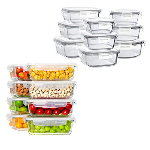 Bayco Glass Storage Containers with Lids, 9 Sets & 8 Sets Glass Meal Prep Containers Airtight, Glass Food Storage Containers, Glass Containers for Food Storage with Lids - BPA-Free & Leak Proof