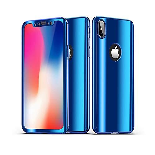 CXvwons iPhone XR Hülle, iPhone XS MAX 3 in 1 Ultra Dünner PC Harte Case 360 Grad Ganzkörper Schützend Handytasche Backcover Anti-Kratzer Schutzhülle für iPhone XS (iPhone XR, Blau)