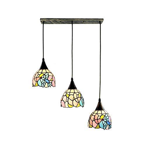 WEM Lámpara colgante rústica antigua, candelabro de vidriera E26, accesorio de luces colgantes de estilo de 3 luces, lámparas de decoración de luz de techo vintage para comedor, disco B,Plato largo