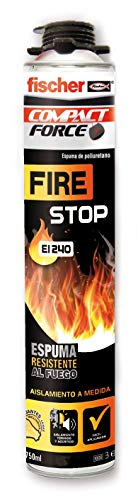 fischer - Espuma Firestop pistola (bote 750 ml) espuma de poliuretano no inflamable, rellena, fija, sella y funciona como aislamiento térmico y acústico para puertas de emergencia, anti-incendios