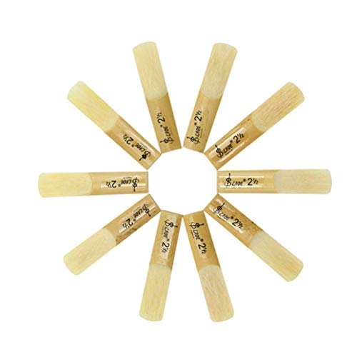 GESUND 10 stücke Drop B Sopransaxophon Blätter Stärke 2,5 Bambusklarinette Teile mit Aufbewahrungsbox für Musikinstrument