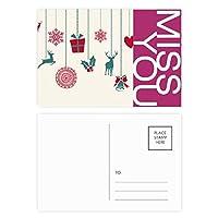 クリスマスのヘラジカの雪片心臓フェスティバル ポストカードセットサンクスカード郵送側20個ミス
