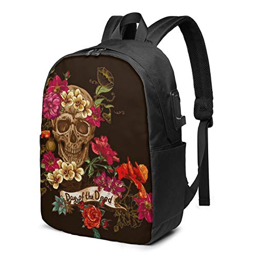 Floral Sugar Skull Printed Travel Lightweight Backpack Computer Laptop Bag with USB Charging Port