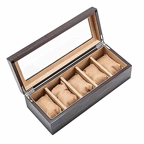Caja de almacenamiento de reloj de madera con ventana de estaño, chapa de estaño, organizador de exhibición de reloj mecánico, cajas de regalo (color : D) (color: D)
