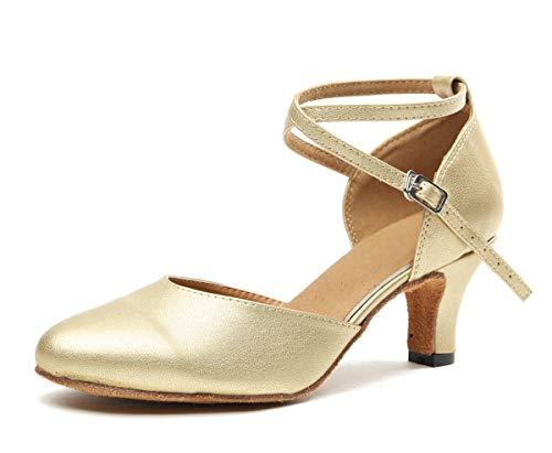 MINITOO Damen Latein Salsa Ankle Strap Gold Glattleder Ballroom Tanzschuhe Abendschuhe EU 39