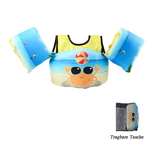 VIEKUU Schwimmflügel Schwimmwesten mit Schultergurt für Kinder von 2-6 Jahre 15-25kg Schwimmweste für Kleinkinder Schwimmen zu Lernen Schwimmhilfe für Jungen und Mädchen, Grün Krabbe