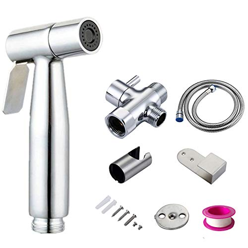 Simumu Premium Bidet Sprayer for Toilet, Stainless Steel Bathroom Handheld Spray, Best Used for Personal Hygiene and Potty Toilet Hygiene-Perfect Bottom Cleaner Spray
