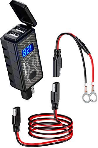 Kaedear(カエディア) バイク オートバイ 充電器 USB 電源 【 IPX8 業界最強防水性能 】 USBチャージャー デュアル 2 ポート (5V/2.4A×2) DC 12V クリック式 スイッチ 高輝度 LED 電圧計 SAEコネクター プロ