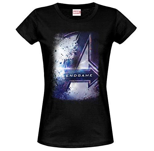 Avengers Camiseta para Mujer Endgame Bursted Logo Marvel Cotton Black - L