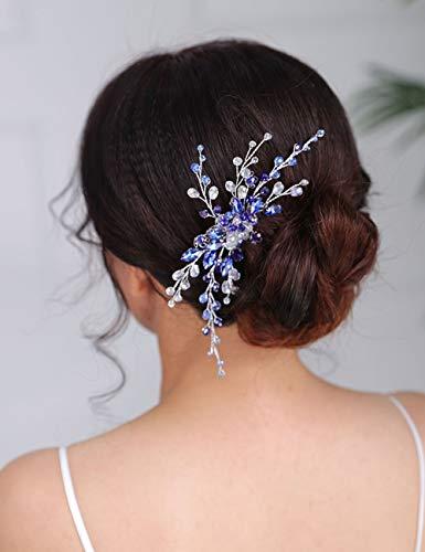 Denifery Blue Bridal Hair Comb Sapphire Blue Crystal Hair Comb Wedding Navy Blue Rhinestone Royal Blue Hair Comb Wedding Hair Piece for Women and Girls