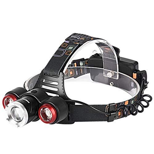 NEXGADGET Linterna Frontal 3 x T6 LED Recargables Batería Lámpara de Cabeza Alta Potencia Portátil para Reparación de Automóviles Camping Pesca Ciclismo Carrera Caza Emergencia con 2 x 18650 Baterias