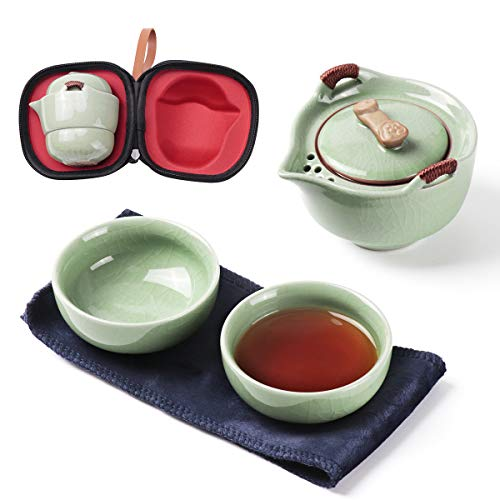 Keramische Travel Tea Pot Infuser Set, Chinese Kung Fu Theepot 1 Pot 2 Kopjes Porselein Theepot Theepot met Draagbare Tas Box Alles in Een voor Thuis Outdoor Picnic Camping Business Hotel