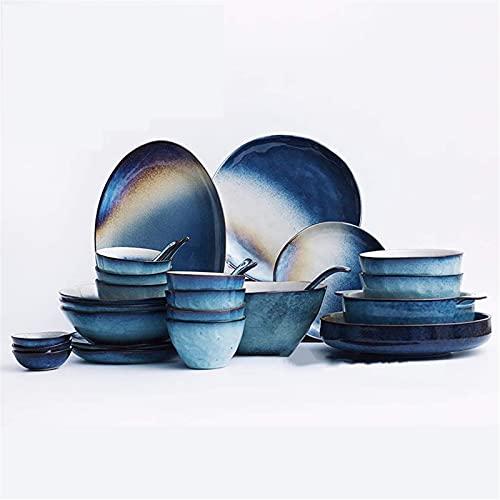 Juego de Platos, Conjuntos de Cena de cerámica, Cuenco/Plato/Cuchara | Conjunto de vajillas de Textura de gradiente de Cielo Estrellado, Juego de combinación de Porcelana de glases de Horno Retro,