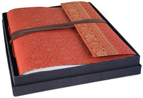 Weinrotes Handgemachtes Fotoalbum aus Sari Seide, Klassische Seiten, mit Box (26cm x 33cm) ArtNr 00273