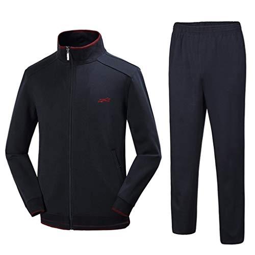 Dasongff heren joggingpak trainingspak fitness mannen sweatjack sportkleding joggen fitnesspak sweatshirt + streetwear broek sportpak voor gym warm trainingspak Large marineblauw